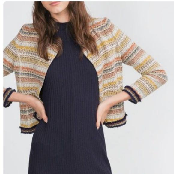 f4909654 Zara Jackets & Coats | Trafaluc Outwear Collection Jacquard Jacket ...